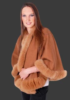 Image result for Baby Alpaca Fur Trim Cape
